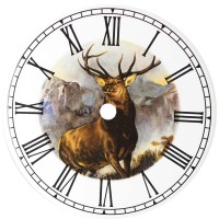 Ceramic Clock Tile Monarch of the Glen Roman Face